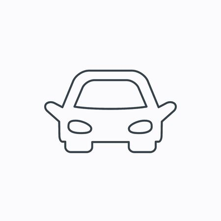 overhaul: Car icon. Auto transport sign. Linear outline icon on white background. Vector