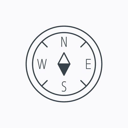 Compass navigation icon. Geographical orientation sign Linear outline icon on white background. Vector