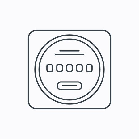 kilowatt: Electricity power counter icon. Measurement sign. Linear outline icon on white background. Vector