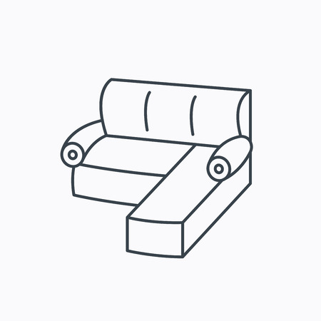 comfortable: Corner sofa icon. Comfortable couch sign. Furniture symbol. Linear outline icon on white background. Vector Illustration
