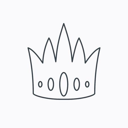 vip symbol: Icono de la corona. Royal signo rey sombrero. S�mbolo VIP. Icono de contorno lineal sobre fondo blanco. Vector Vectores