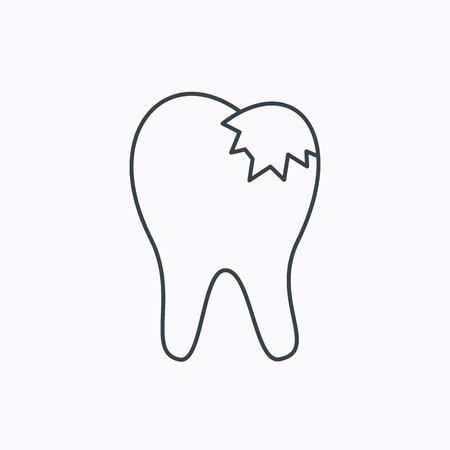 restoration: Dental fillings icon. Tooth restoration sign. Linear outline icon on white background. Vector