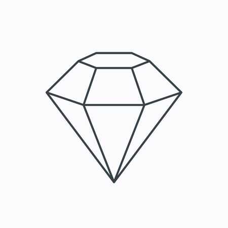 Diamond icon. Brilliant gemstone sign. Linear outline icon on white background. Vector