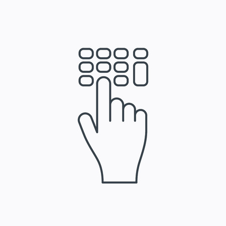 pin code: Enter pin code icon. Click hand pointer sign. Linear outline icon on white background. Vector