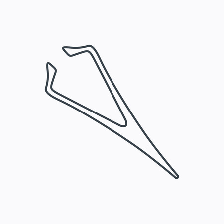 tweezer: Eyebrow tweezers icon. Cosmetic equipment sign. Aesthetic beauty symbol. Linear outline icon on white background. Vector Illustration