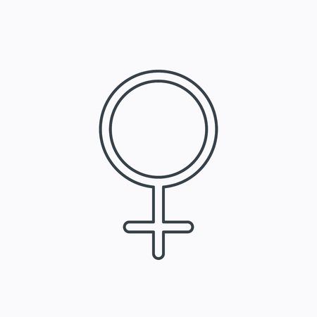 Vrouwelijk pictogram. Het geslachtsteken van vrouwen. Lineaire omtrek pictogram op witte achtergrond. Vector