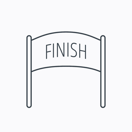 checkpoint: Finish banner icon. Marathon checkpoint sign. Linear outline icon on white background. Vector