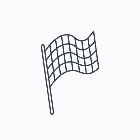winning location: Finish flag icon. Start race sign. Linear outline icon on white background. Vector Illustration