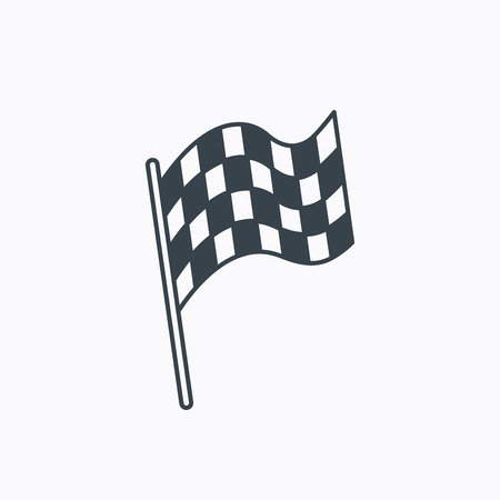 Finish flag icon. Start race sign. Linear outline icon on white background. Vector  イラスト・ベクター素材