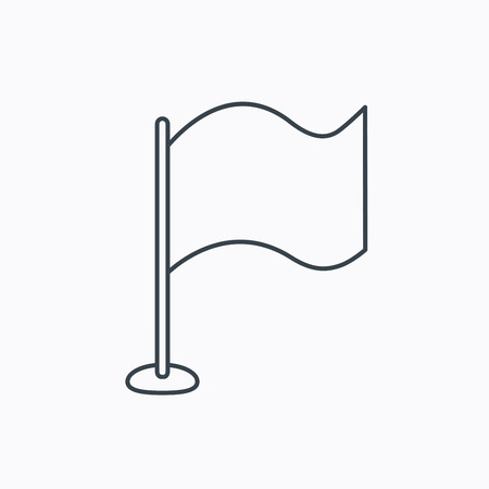 white flag: Waving flag icon. Location pointer sign. Linear outline icon on white background. Vector