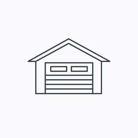parking garage: Auto garage icon. Transport parking sign. Linear outline icon on white background. Vector