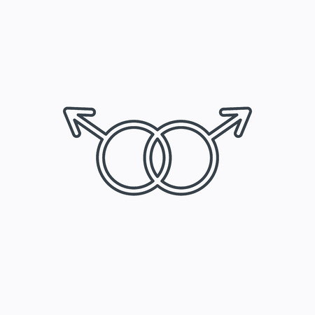 Gay couple icon. Homosexual sign. Linear outline icon on white background. Vector
