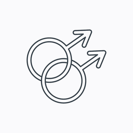 homosexual sex: Gay couple icon. Homosexual sign. Linear outline icon on white background. Vector