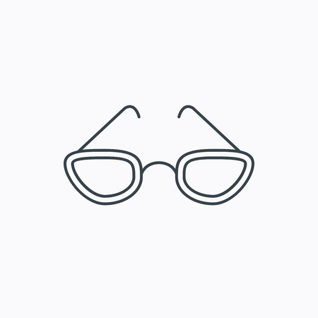 glasses icon: Glasses icon. Reading accessory sign. Linear outline icon on white background. Vector
