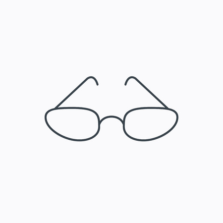 eyewear fashion: Glasses icon. Reading accessory sign. Linear outline icon on white background. Vector