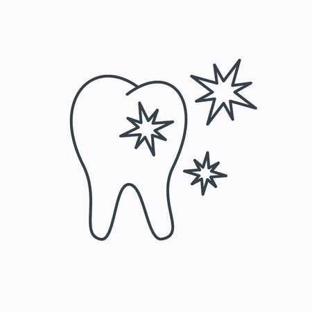 stomatologist: Healthy tooth icon. Dental protection sign. Linear outline icon on white background. Vector Illustration