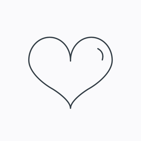 seduction: Heart icon. Love sign. Life symbol. Linear outline icon on white background. Vector