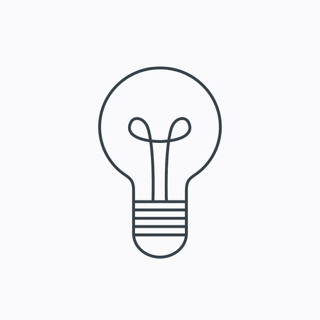 lamp outline: Lamp icon. Idea and solution sign. Linear outline icon on white background. Vector Illustration