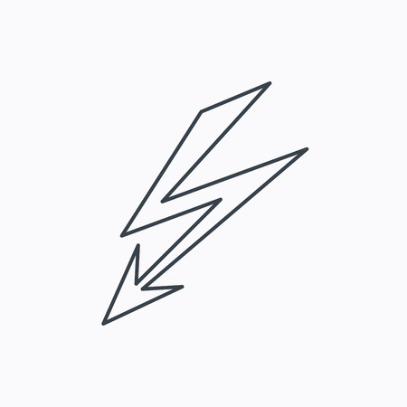 lightening: Lightening bolt icon. Power supply sign. Electricity symbol. Linear outline icon on white background. Vector Illustration