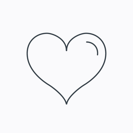 february 1: Love heart icon. Life sign. Linear outline icon on white background. Vector