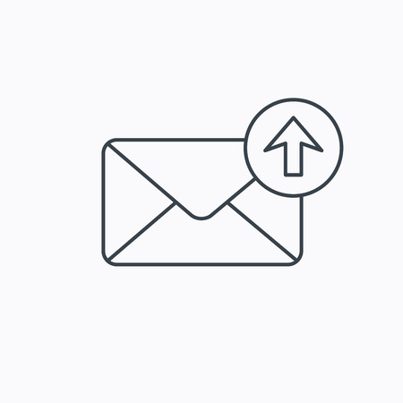 outbox: Mail outbox icon. Email message sign. Upload arrow symbol. Linear outline icon on white background. Vector