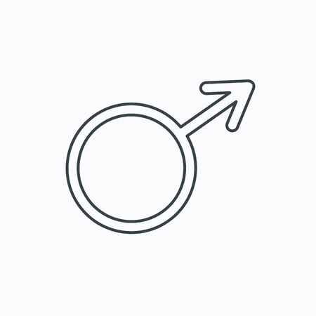 Mannelijk pictogram. Heren seksualiteit teken. Lineaire omtrek pictogram op witte achtergrond. Vector Stock Illustratie