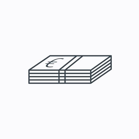 euro money: Cash icon. Euro money sign. EUR currency symbol. Linear outline icon on white background. Vector Illustration