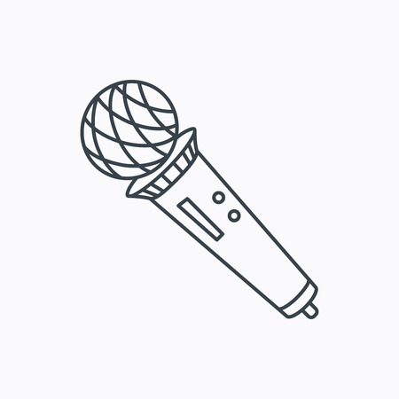 karaoke: Microphone icon. Karaoke or radio sign. Linear outline icon on white background. Vector