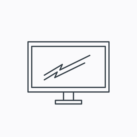 tv led: PC monitor icon. Led TV sign. Widescreen display symbol. Linear outline icon on white background. Vector