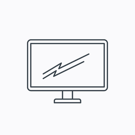 pc monitor: PC monitor icon. Led TV sign. Widescreen display symbol. Linear outline icon on white background. Vector