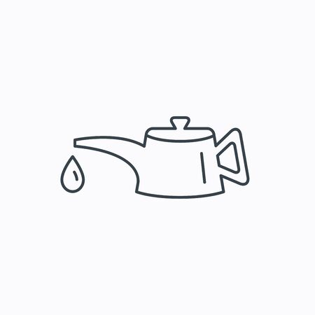 motor oil: Motor oil icon. Fuel can with drop sign. Linear outline icon on white background. Vector