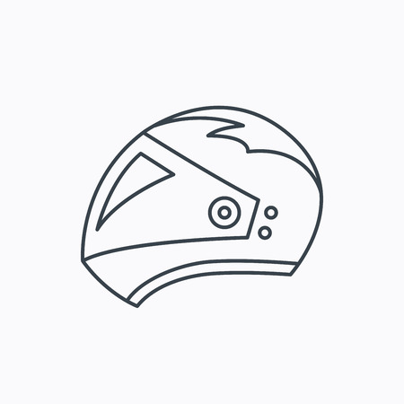 motorradhelm: Motorrad-Helm-Symbol. Biking Sport-Zeichen. Linear Umriss-Symbol auf wei�em Hintergrund. Vektor Illustration