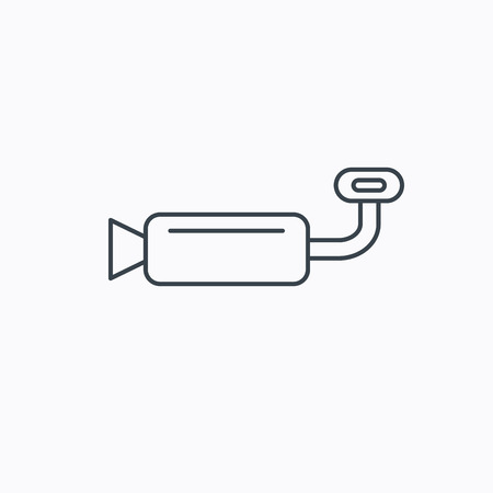tailpipe: Muffer icon. Car fuel pipe or exhaust sign. Linear outline icon on white background. Vector Illustration