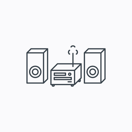 cd recorder: Music center icon. Stereo system sign. Linear outline icon on white background. Vector