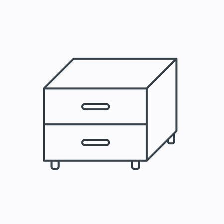 nightstand: Nightstand icon. Bedroom furniture sign. Linear outline icon on white background. Vector