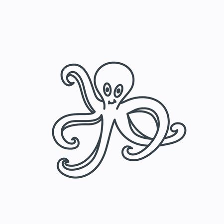 devilfish: Octopus icon. Ocean devilfish sign. Linear outline icon on white background. Vector
