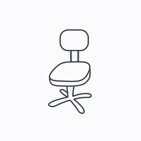 ergonomic: Office chair icon. Business armchair sign. Linear outline icon on white background. Vector