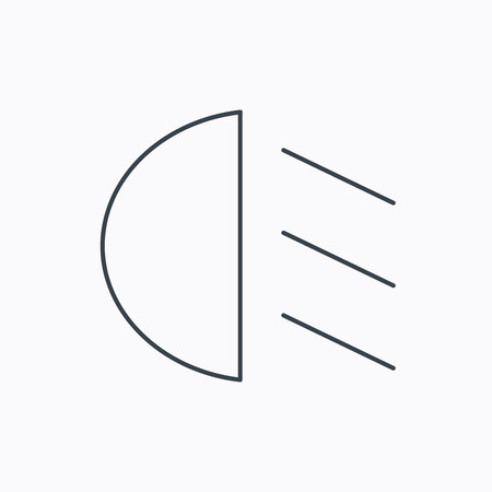 dipped: Passing light icon. Dipped beam sign. Linear outline icon on white background. Vector