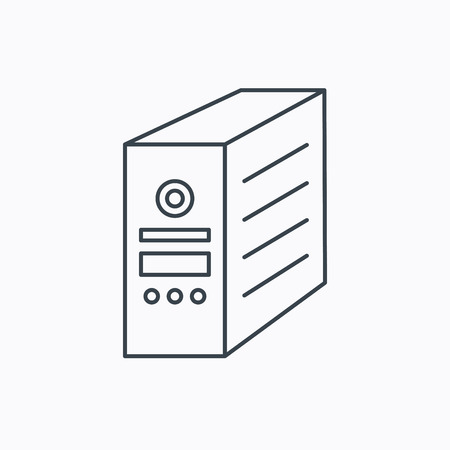 pc case: Computer server icon. PC case or tower sign. Linear outline icon on white background. Vector Illustration