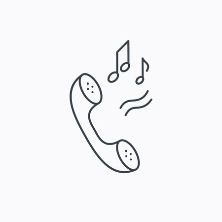 ringtone: Phone icon. Call ringtone sign. Linear outline icon on white background. Vector