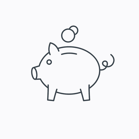 economy: Piggy bank icon. Money economy sign. Financial investment symbol. Linear outline icon on white background. Vector