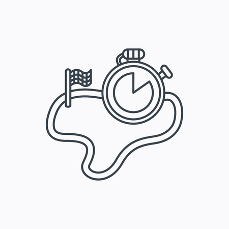 sprinting: Race road icon. Finishing flag with timer sign. Linear outline icon on white background. Vector