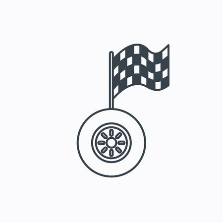 racing sign: Race icon. Wheel with racing flag sign. Linear outline icon on white background. Vector
