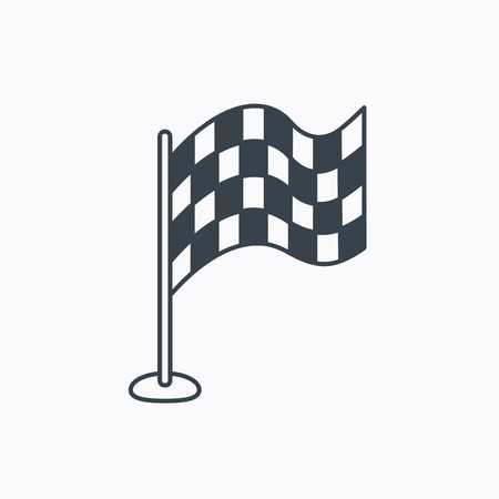Racing flag icon. Finishing symbol. Linear outline icon on white background. Vector  イラスト・ベクター素材