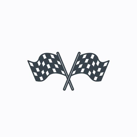 crosswise: Crosswise racing flags icon. Finishing symbol. Linear outline icon on white background. Vector