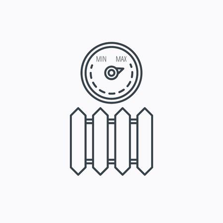 calentador: Radiador con el icono del regulador. Signo del calentador. Temperatura maxima. Icono de contorno lineal sobre fondo blanco. Vector