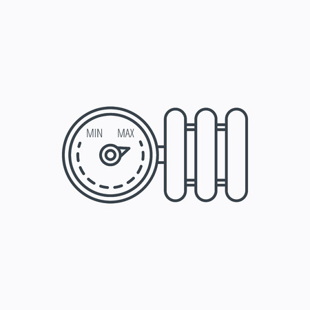 regulator: Radiator with regulator icon. Heater sign. Linear outline icon on white background. Vector