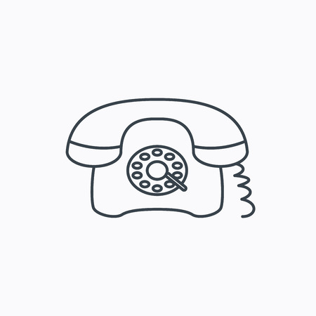 old telephone: Retro phone icon. Old telephone sign. Linear outline icon on white background. Vector