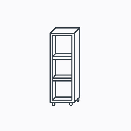 shelving: Empty shelves icon. Shelving sign. Linear outline icon on white background. Vector Illustration