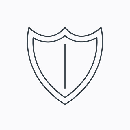 honor guard: Shield icon. Protection sign. Royal defence symbol. Linear outline icon on white background. Vector Illustration